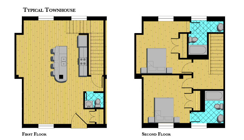 Modern townhouse floor plans Modern townhouse plans
